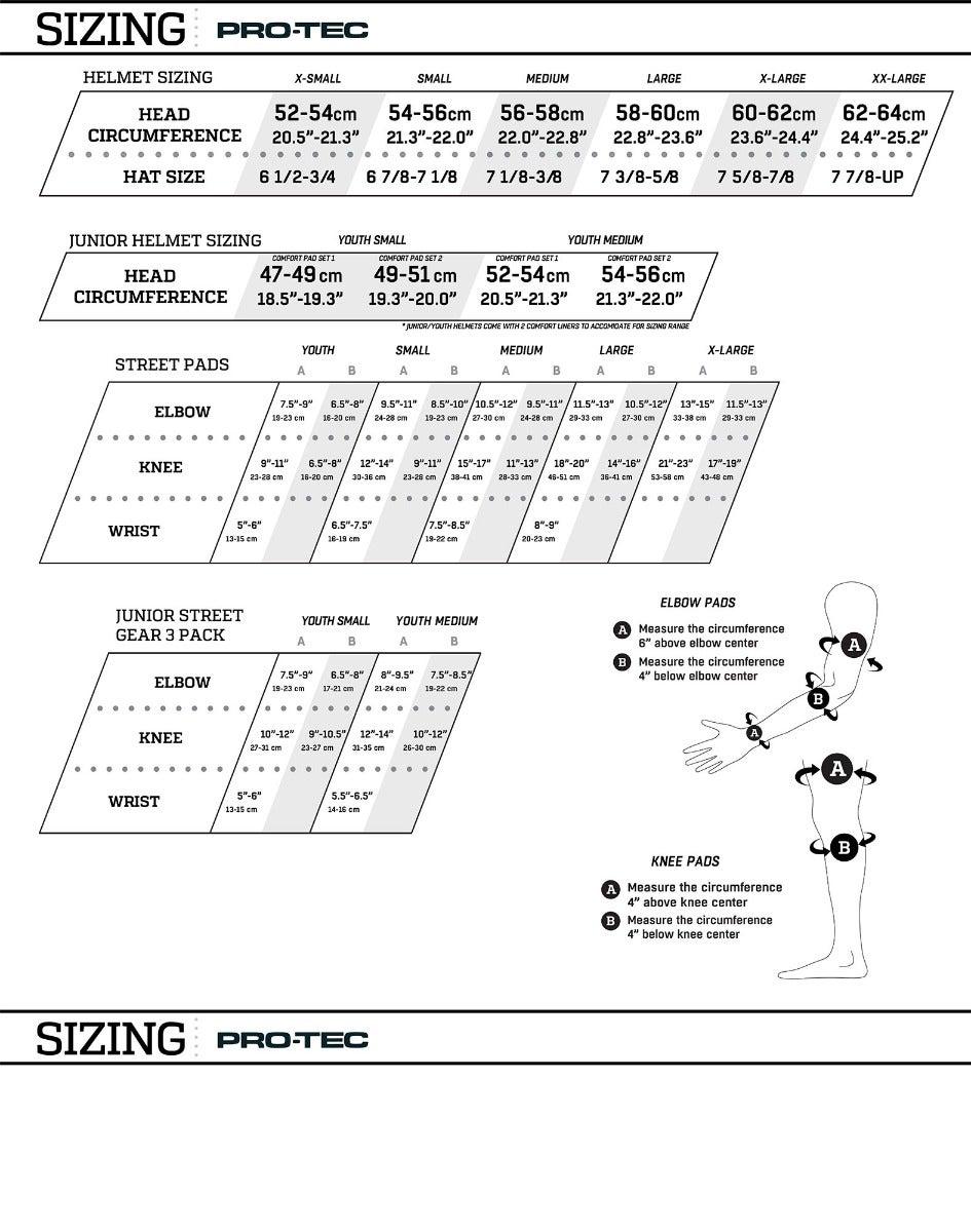 Pro-Tec Size Chart